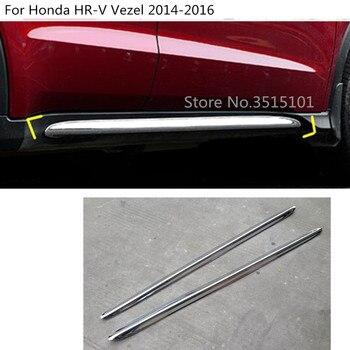 Car Body Detector ABS Chrome Side Bottom Down Door Body Trim Stick Strip 2pcs For Honda HRV HR-V Vezel 2014 2015 2016 2017 2018