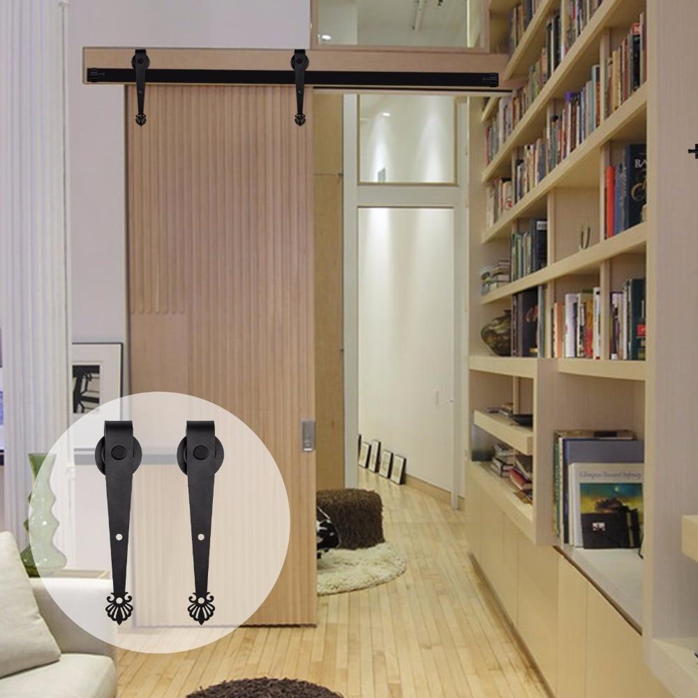 LWZH Top Mounted Single Modern Wood Sliding Barn Door Hardware Track Kit Set Black Crown Shaped Hanger for Single Interior Door