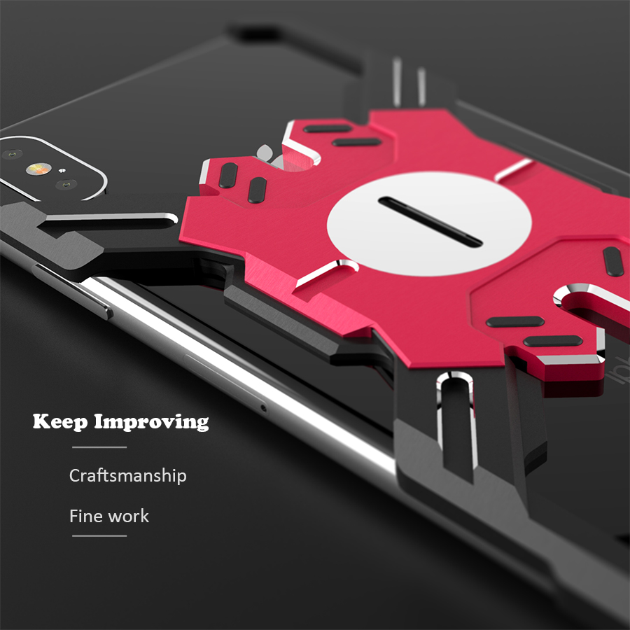 Suntaiho for iPhone XR XS MAX case Armor Metal Shockproof Tank Case for iPhone 7 X 8 6 PLUS Hero Mechanical Arm Heavy Duty Cover