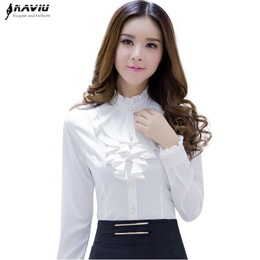 Высококачественная Белая Блузка Naviu, модная женская Повседневная рубашка с длинным рукавом, элегантные офисные женские топы с гофрированны...