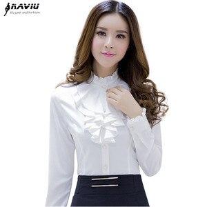 Image 1 - Naviu 고품질의 흰색 블라우스 패션 여성 전체 슬리브 캐주얼 셔츠 우아한 프릴 칼라 사무실 레이디 탑 여성 의류