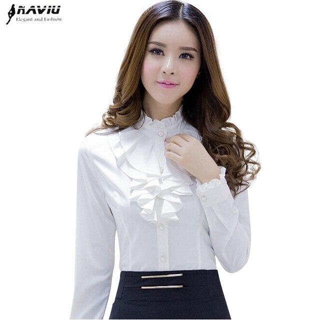 Naviu 고품질의 흰색 블라우스 패션 여성 전체 슬리브 캐주얼 셔츠 우아한 프릴 칼라 사무실 레이디 탑 여성 의류