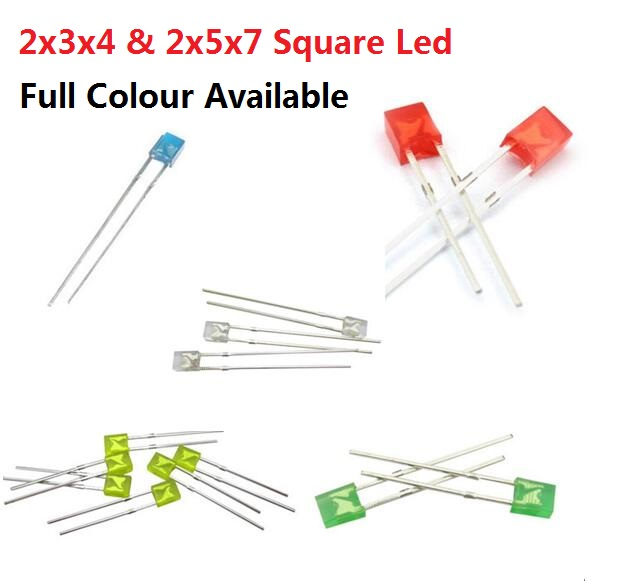 2x3x4 Free Ship 100pcs 2*3*4/2*5*7 Square Dip Led Red Yellow Green Blue High Bright Quality Bead Light Emitting Diode 2x5x7 Active Components Electronic Components & Supplies