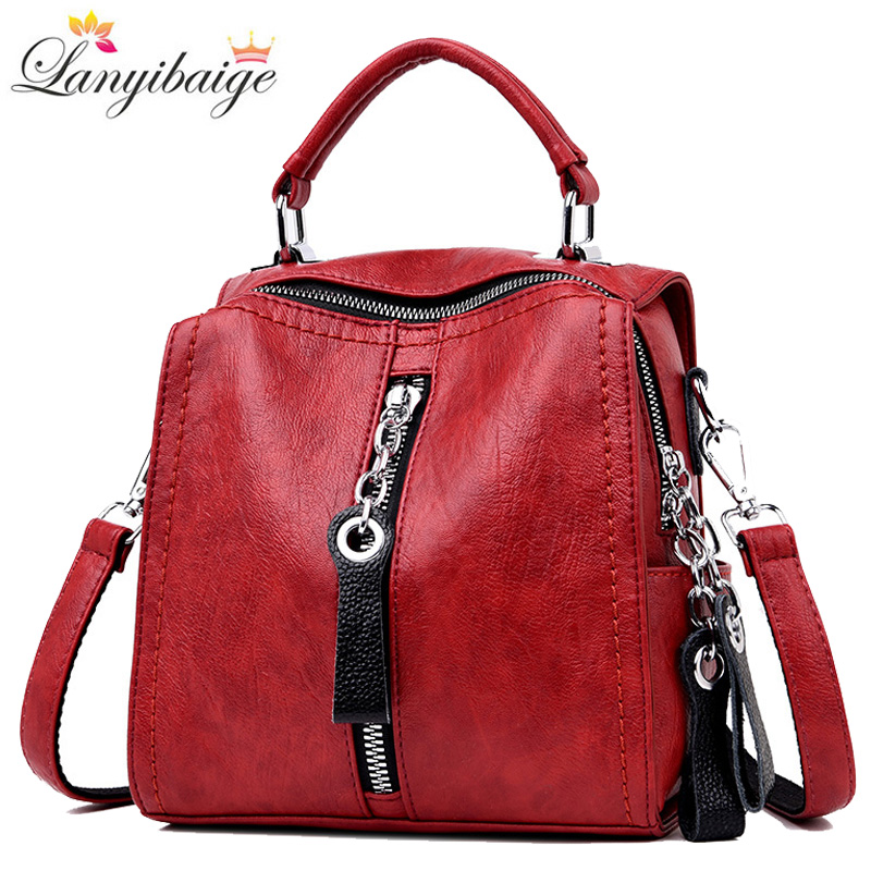 2019 High Quality Leather Women Backpack Luxury Multifunctional Ladies Backpack Casual Shoulder Bags For Lady Travel Backpacks