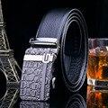Novos Designers de Marcas Genuínas dos homens da Correia de Couro 2017 Homens Cintos Cintos de Couro de Negócios High-end Crocodilo Grãos Oficial Q310
