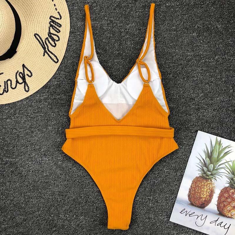 Одноцветный купальный костюм с бретельками, модель 2020 года, сексуальный купальник для женщин, с поясом, с высокой посадкой, пляжная одежда, u-... 34