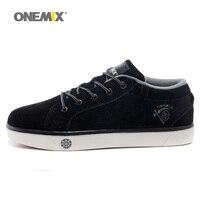Onemix Man Cow Leather Suede Skateboarding Shoes For Men Classic Nice Skateboard Shoe Boys Black Flat