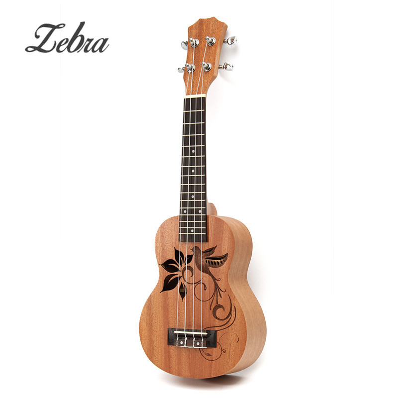 Zebra Brand 21 Inch 15 Frets 4 Strings Soprano Sapele Mini Ukulele Uke Bird Flower Rosewood Guitar Stringed Musical Instruments syds good deal 17 mini ukelele ukulele spruce sapele top rosewood fretboard stringed instrument 4 strings with gig bag 2