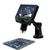 LCD Digital USB Microscope 4.3 inch Magnifier ABS 8 Leds Magnifying Glass Tool with 1 600X Continuous Magnification Zoom 3.6MP