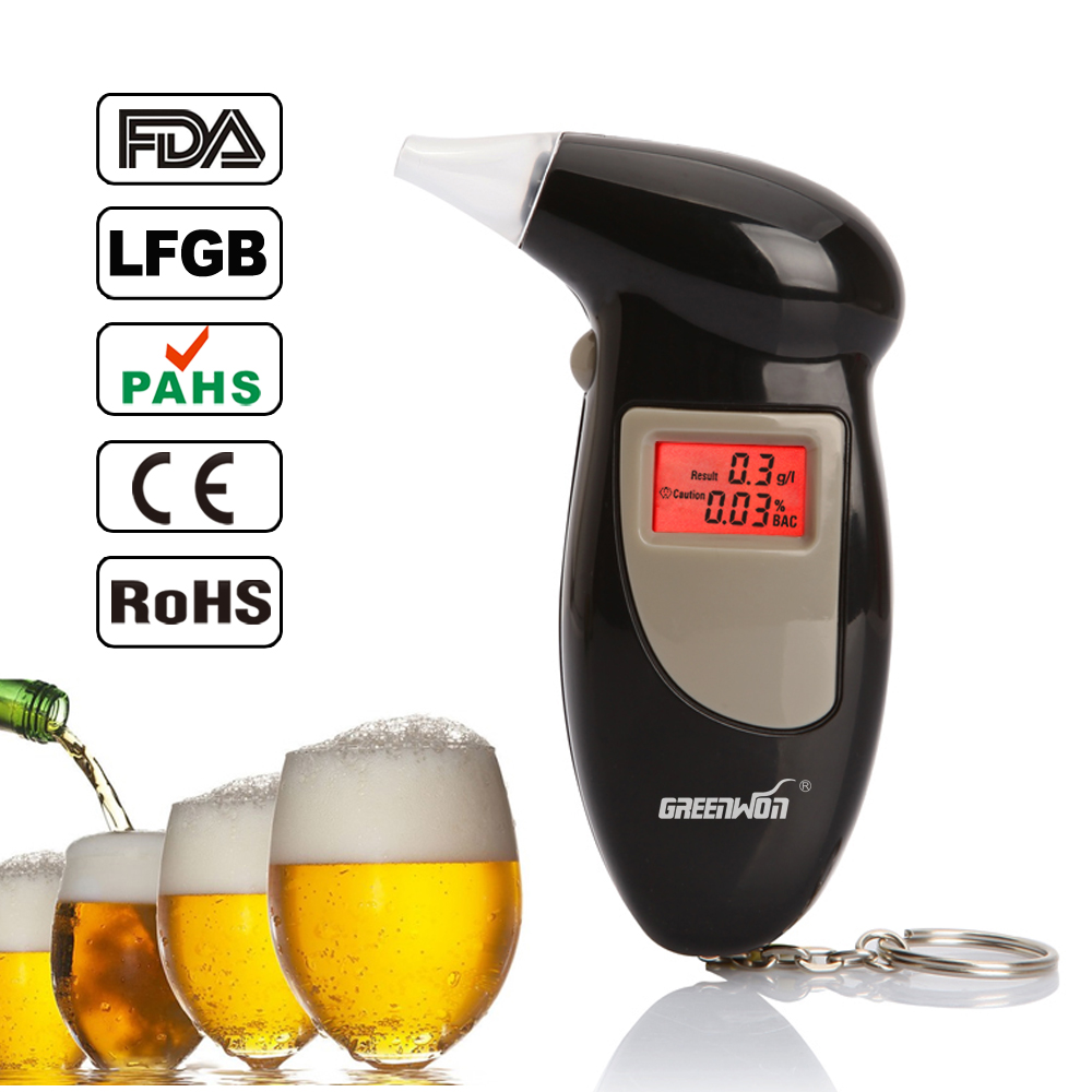 10pcs greenwon 68s high precision ABS digital alcohol tester car breathalyzer with red backlight