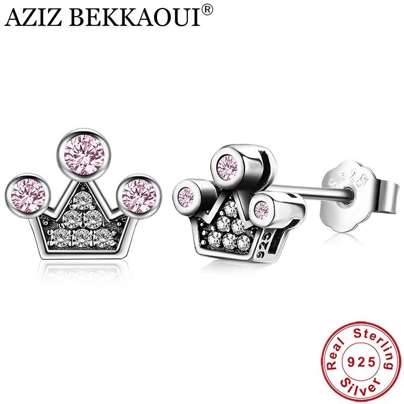 AZIZ BEKKAOUI Lovely 100% 925 Sterling Silver Pink Crystals Queen Crown Mountain Stud Earrings for Women femme Fine Jewelry Gift