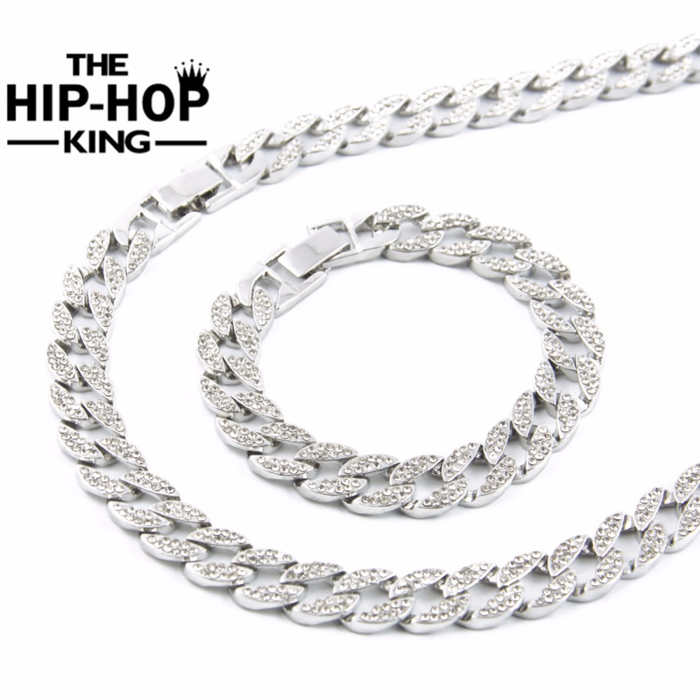 Miami Cuban Link Chain Silver Plated Fully Iced Out Hip Hop Bling 2016 Hot  Sale 15mm 30