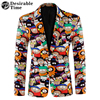 Desirable Time 3D Cartoon Printed Blazer Men 2018 Fashion Brand Clothing Stage Clothes Casual Colorful Blazers