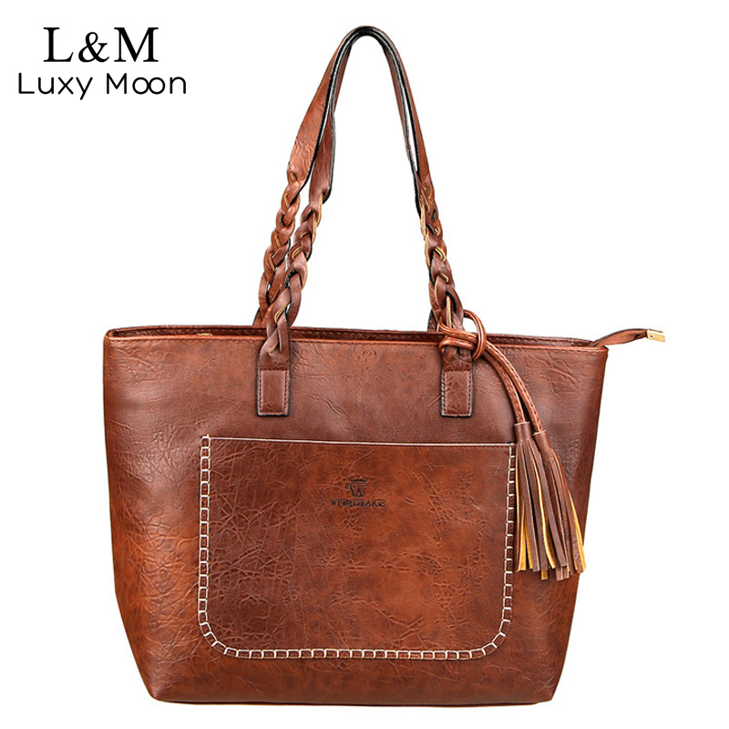 Vintage Handbag Women Brown Leather Shoulder Bag Ladies Retro Tote Large PU Handbags bolso 2017 Fashion Big Black Bags XA540D