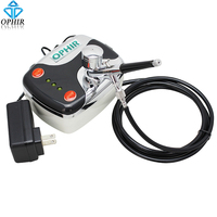 OPHIR 12V DC Portable Airbrush Compressor with 0.3mm Airbrush Gun for Cake Decorating Art Hobby Paint _AC002+AC004