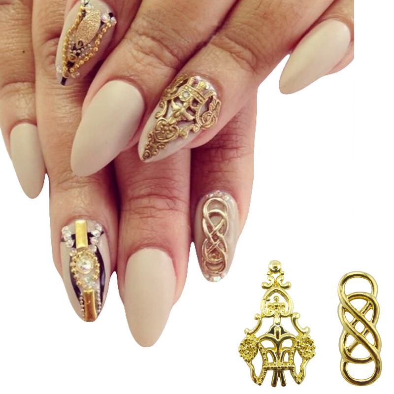 Buy 10pcs alloy nail art gold 3d nails for 3d nail decoration