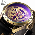 SHENHUA Luxury Brand Automatic Watch Mechanical Watches Men Skeleton Analog Clock Leather Strap Fashion Casual Mens Watches