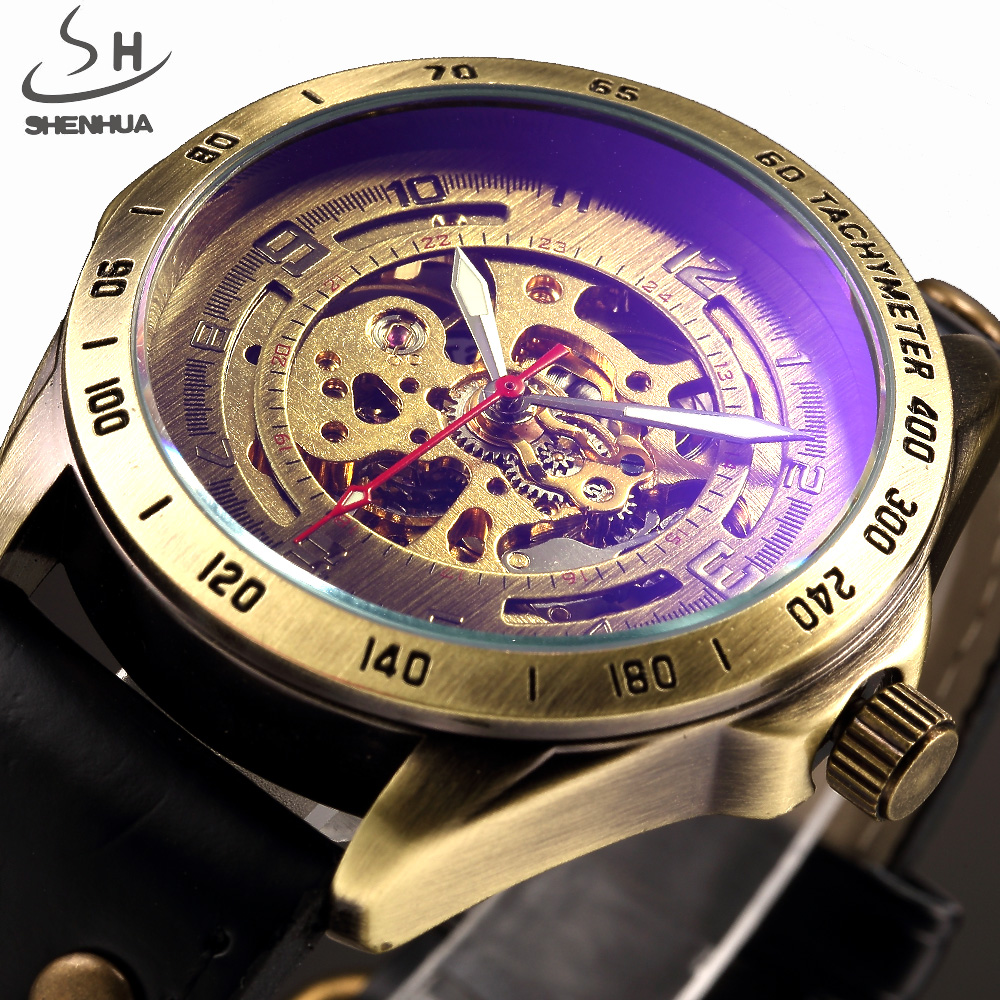 SHENHUA Luxury Brand Automatic Watch Skeleton Mechanical Watches Men Analog Clock Leather Strap Fashion Casual Male Wristwatch forsining gold hollow automatic mechanical watches men luxury brand leather strap casual vintage skeleton watch clock relogio