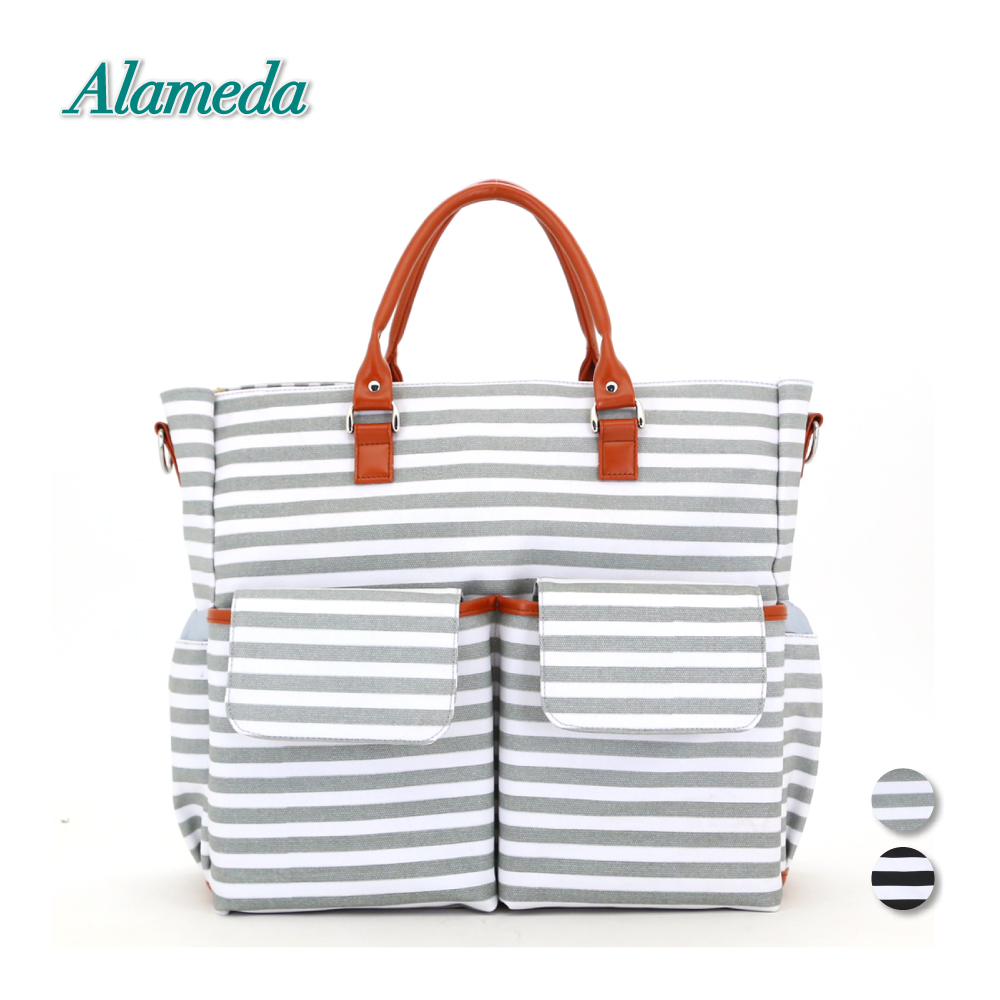 Alameda Maternity Mummy Bag PU Diaper Bag Tote Striped Large Capacity Nappy Messenger Bag for Baby