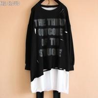 82 Spring plus size clothing long sleeve T shirt hole flash asymmetrical basic shirt top twinset t shirt big t shirts