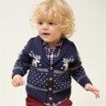 2016 Nuevos Niños Suéteres Alces de Navidad para niños y niñas suéter Con Capucha de Lana Tejido de Punto de Algodón de Invierno Suéter Infantil Para Niños