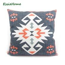 ESSIE HOME High-End Impresión Digital negro turco étnico Kilim patrón funda de almohada cojín para sofá aspecto vintage decoración del hogar