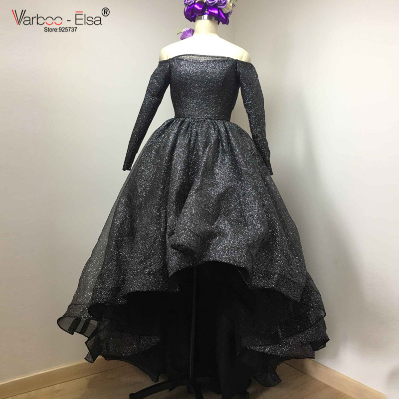 60749df66c94 VARBOO ELSA Off Shoulder Long Sleeve Evening prom Dresses Bling Bling Short  Front Long Back High Low silver prom dress black
