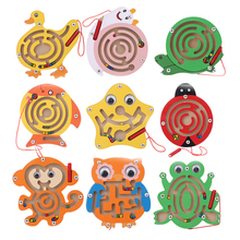 Kids Magnetic Maze Toy Wooden Puzzle Game Children Early Educational Brain Teaser Animal Cartoon Intellectual Jigsaw Board