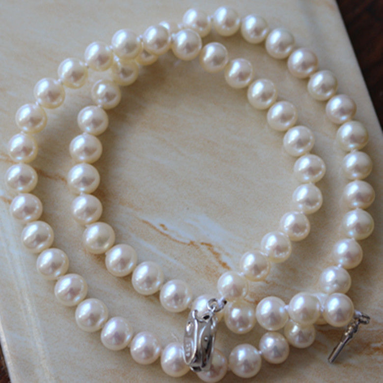 classic round 9-10mm south sea round white pearl necklace 18inch925sclassic round 9-10mm south sea round white pearl necklace 18inch925s