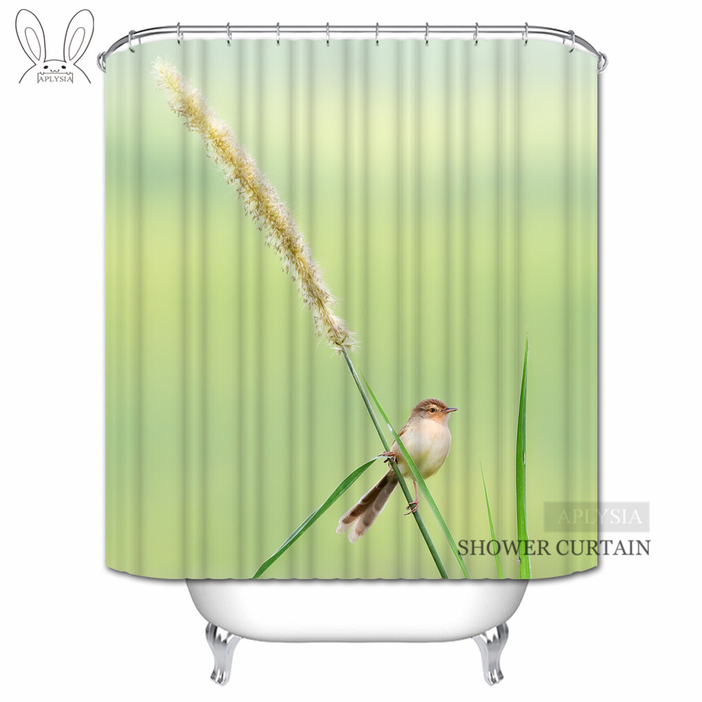 Aplysia Brid Flower Shower Curtains Simple Bright Green Background Custom Waterproof Fabric Bathroom For Home Decors In From