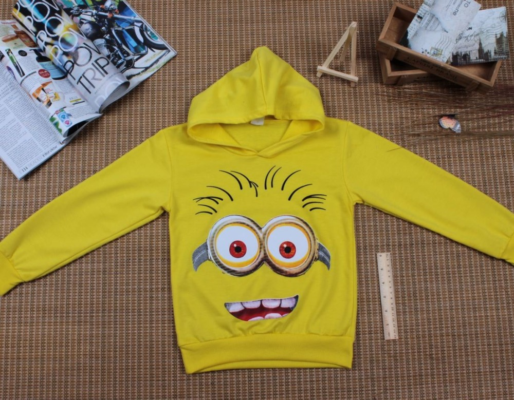 HTB1qLkuerYI8KJjy0Faq6zAiVXah - Boy or Girl's High Quality Cotton Hoodie T-Shirts Cartoon Minion Print Design