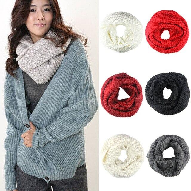 Men Women 2 Circle Winter Warm Infinity Cable Knit Cowl Neck Long