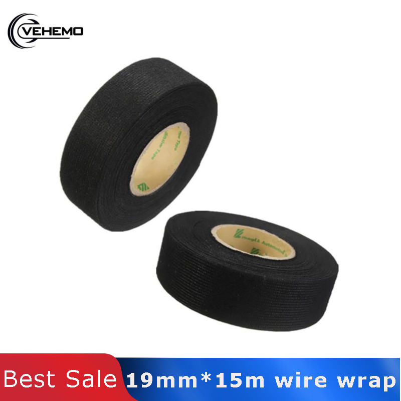 Vehemo 19mmx15M Car Auto Wiring Harness Flannel Adhesive Felt Tape 2019 New  Black Cloth Fabric Tape High Quality Car-styling