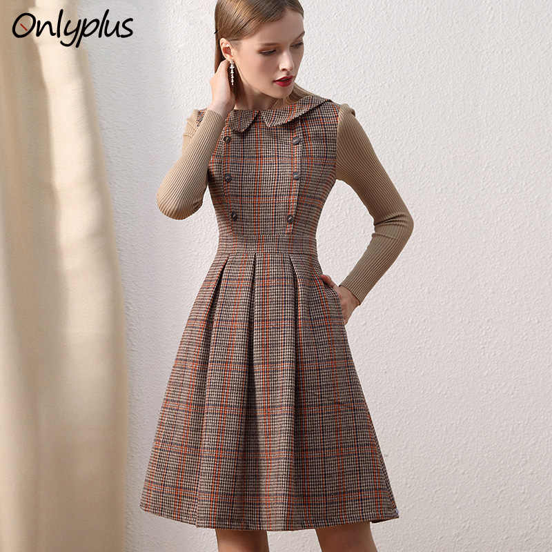 2021 Frauen Vintage Kleid Winter Lange Sleeve Woolen Patchwork Gestrickte Armel Hohe Taille Falten Braun Kleider A Line Laidies Neue Dresses Aliexpress