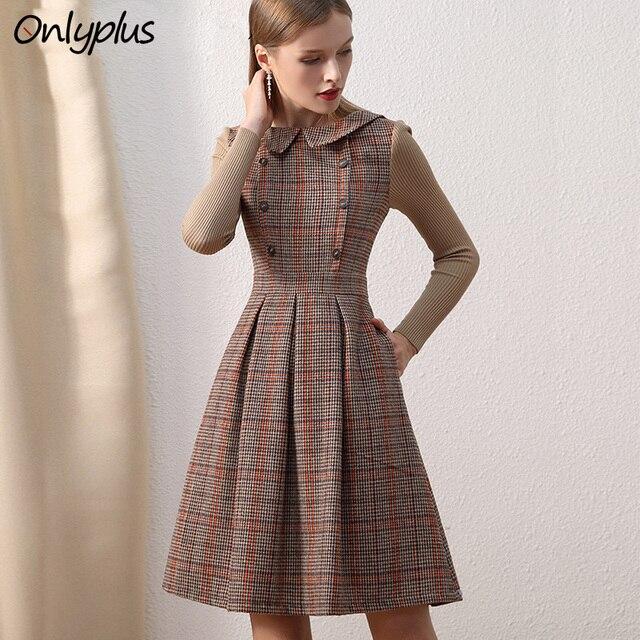 Женское шерстяное платье Only plus, коричневое винтажное платье с воротником Питер Пэн и пуговицами, трикотажное платье с длинными рукавами для зимы
