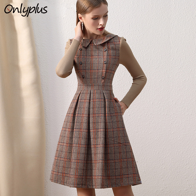 Onlyplus Winter Vintage Wool Party Dress Peter Pan Collar Pocket Slim Elegant Women Woolen Dresses Plaid Knitting Sleeve Splic