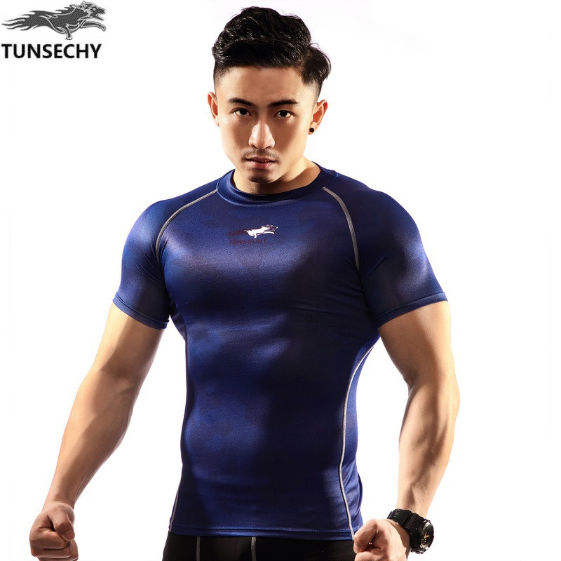Nieuw Compression Shirt Heren TUNSECHY merk Heren T-shirt Korte mouw Sneldrogende training Bodybuilding Fitnesstops
