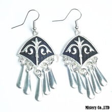 Antique Silver Color Carved Fashion Drop Vintage Earrings Jewelry Jewellery Gift For Women Girls