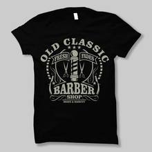 Print T-Shirt 2018 Fashion Old Classic Barber Shop Wet Shave Cut Hair Hipster Beard Mens Tshirt Tee Mens' T-Shirt(China)