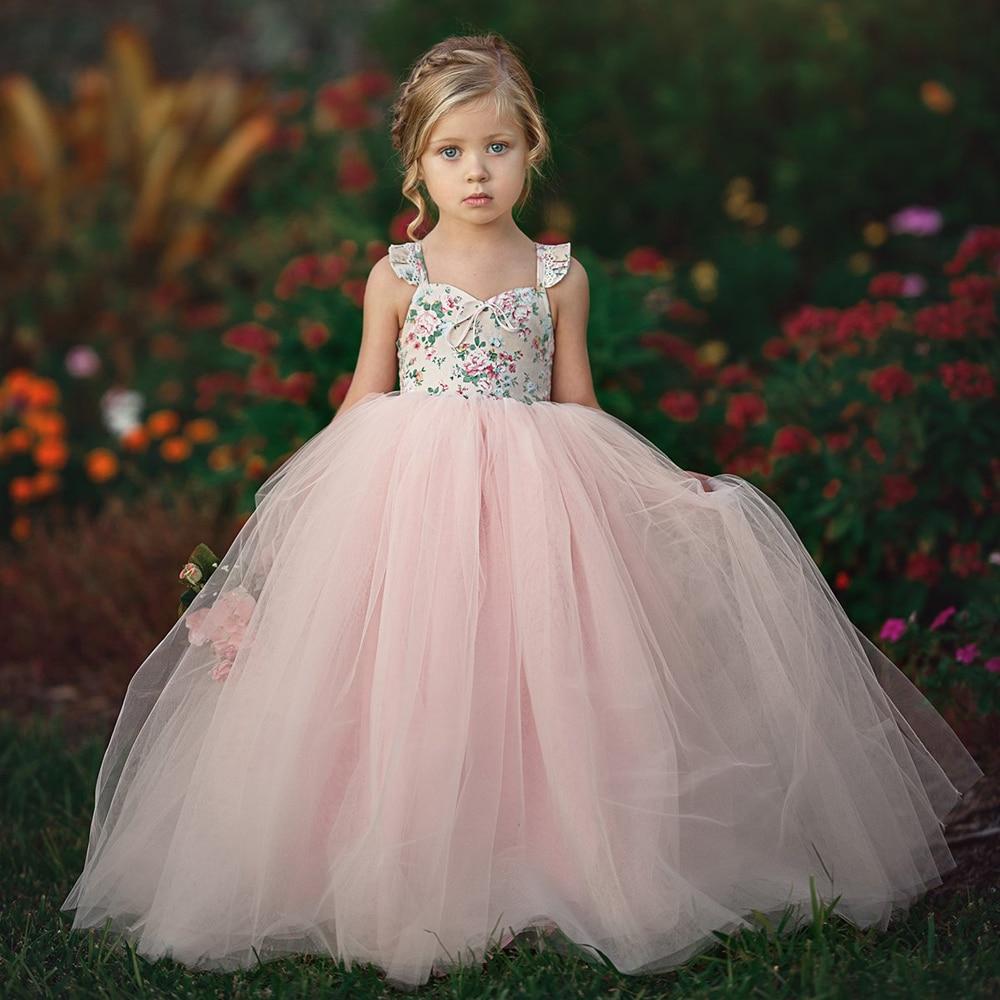 1-7Y Floral Mädchen Prinzessin Kleid Party Hochzeit Geburtstag Tüll Tutu Kleid Kinder Baby Mädchen Kleidung Sommer Lange Maxi Kleid Sommerkleid