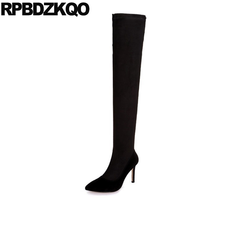 High Heel Real Leather Pointy Suede Slim Thigh Women Boots Stretch Velvet Over The Knee Sexy Extreme Stiletto Shoes Sheepskin women over the knee boots black velvet long boots ladies high heel boots sexy winter shoes chunky heel thigh high boots