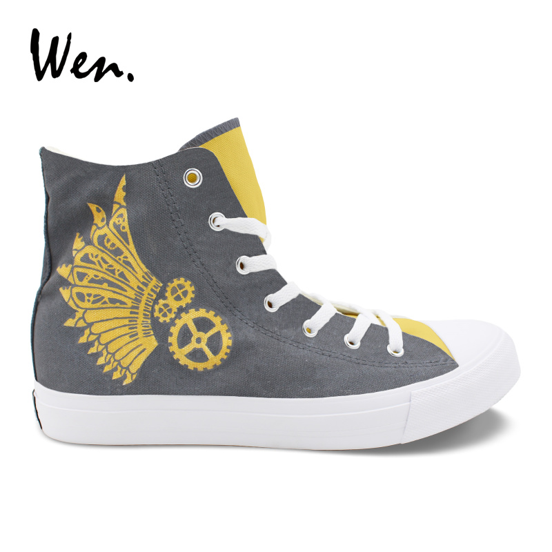 Wen Original Design Unisex Sneakers Steam Punk Canvas Hand Painted High Top Shoes Custom Boy Girl Fashion Grey Casual Plimsolls