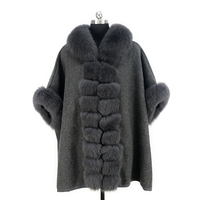 Free shipping 2018 New arrival autumn winter wool with real fox fur poncho coat for women