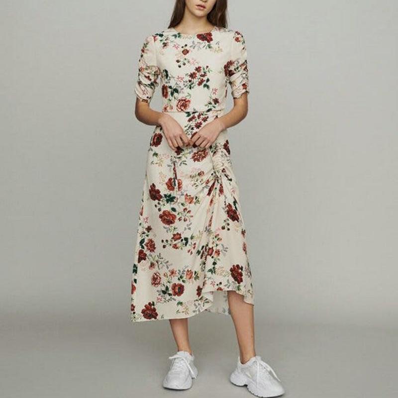 Femmes robe printemps été nouveau femmes Slim manches courtes longue robe en Rose imprimé volants-in Robes from Mode Femme et Accessoires on AliExpress - 11.11_Double 11_Singles' Day 1