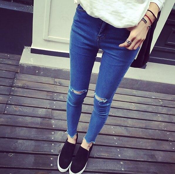 Autumn Korean women fashion blue hole denim jean cool girl skun ...