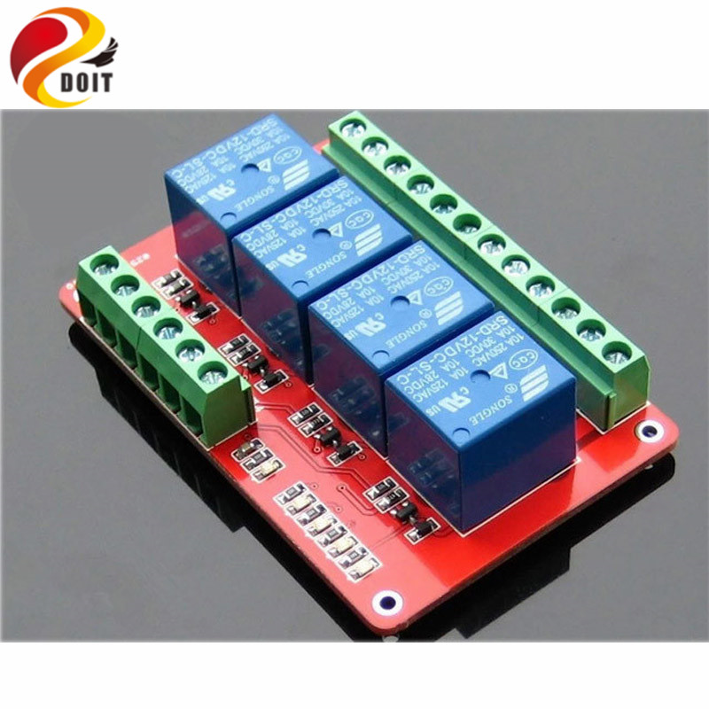 Official DOIT 4 Channel Relay Module Relay Control Low Level Trigger 5V 12V 24V ROBOT Raspberry Pi Development Board ATEMGA UNO