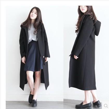 2017 Cute Elegant Korea Ladies Autumn Winter Black Red Long Wool ...