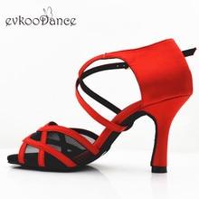 Evkoodance Zapatos De Baile Size US 4-12 Red Satin With Black Mesh 8.3 cm Heel Height Latin Dance Shose Evkoo-525