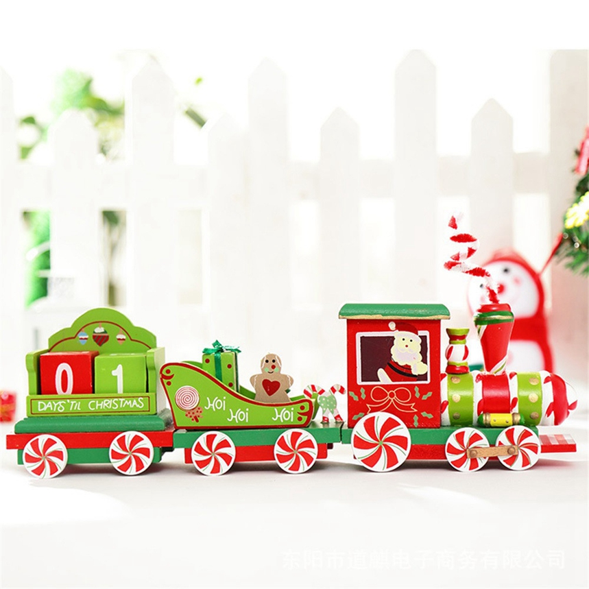 new arrive 1pc charming 2 piece little train wood christmas train ornament decoration decor gift s12