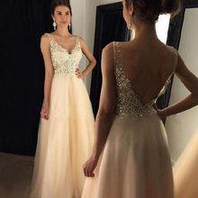Champagne V Neck Prom Dresses Appliques Tulle Sleeveless Flo